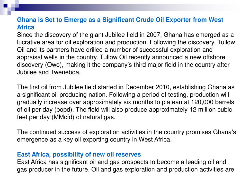 Ghana is Set to Emerge as a Significant Crude Oil Exporter from West Africa