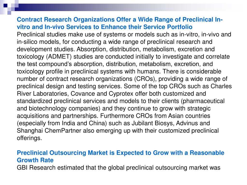 Contract Research Organizations Offer a Wide Range of Preclinical In-vitro and In-vivo Services to Enhance their Service Portfolio