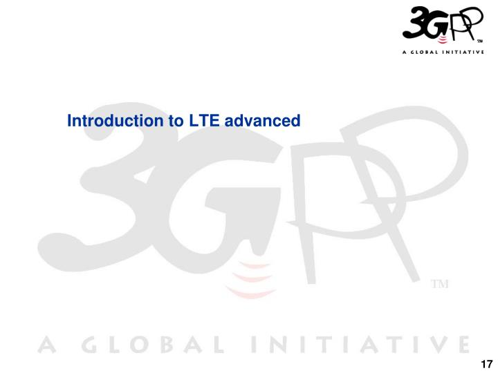 Introduction to LTE advanced