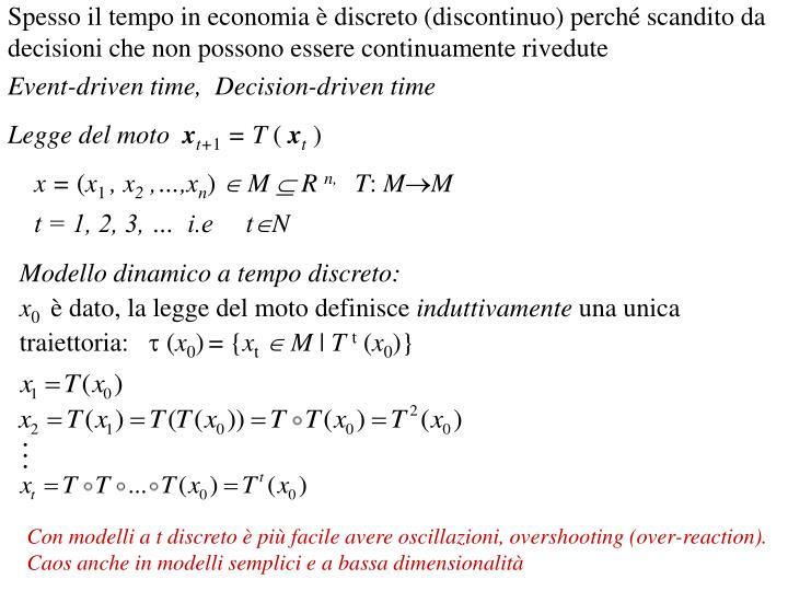 Spesso il tempo in economia è