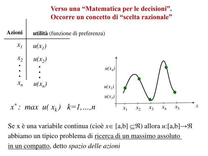 """Verso una """"Matematica per le decisioni""""."""