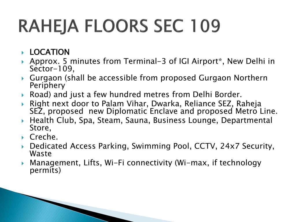 RAHEJA FLOORS SEC 109