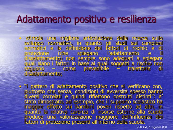 Adattamento positivo e resilienza