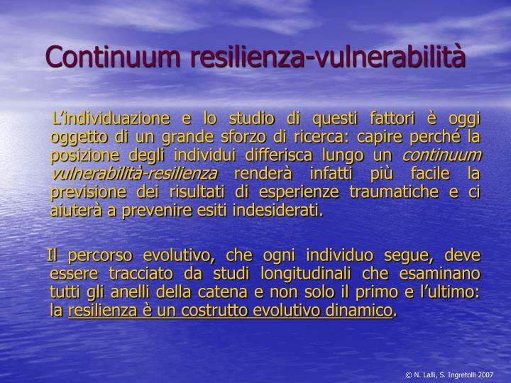 Continuum resilienza-vulnerabilità