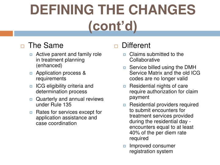 DEFINING THE CHANGES (cont'd)