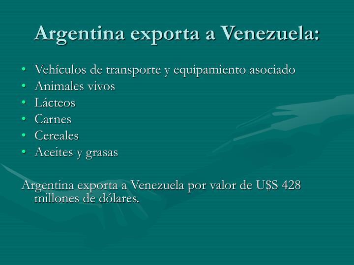 Argentina exporta a Venezuela: