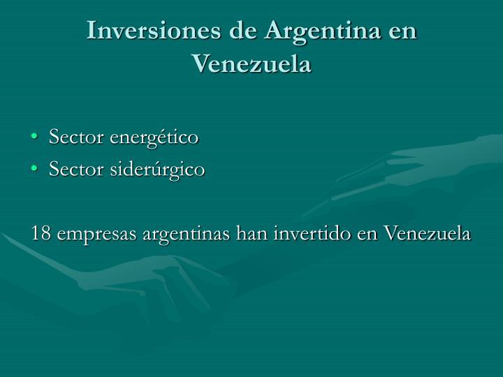 Inversiones de Argentina en Venezuela