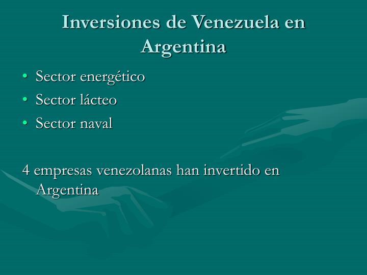 Inversiones de Venezuela en Argentina
