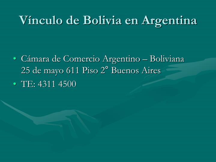 Vínculo de Bolivia en Argentina