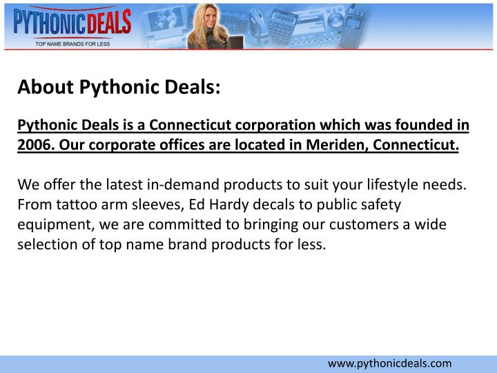 About Pythonic Deals: