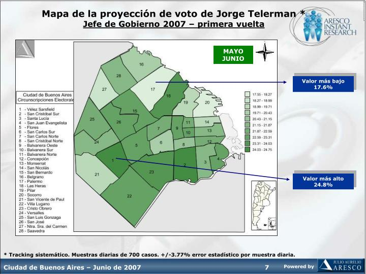 Mapa de la proyección de voto de Jorge Telerman *