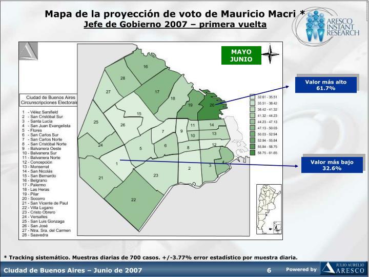 Mapa de la proyección de voto de Mauricio Macri *