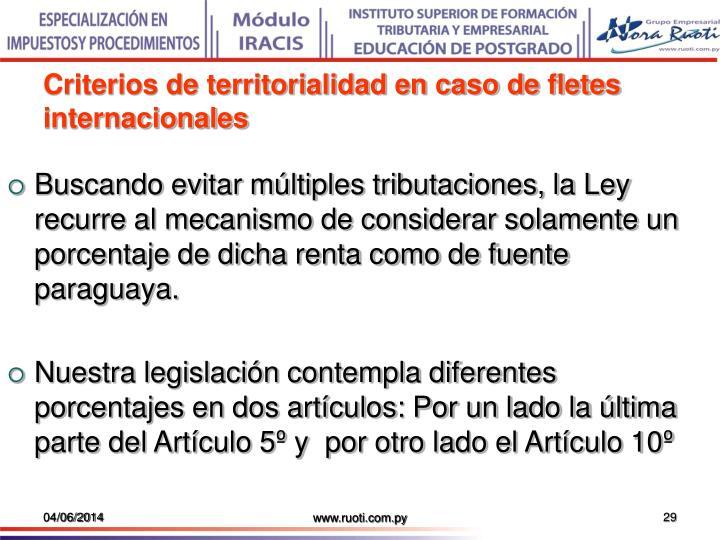 Criterios de territorialidad en caso de fletes internacionales