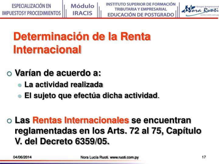 Determinación de la Renta Internacional