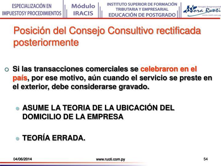Posición del Consejo Consultivo rectificada posteriormente