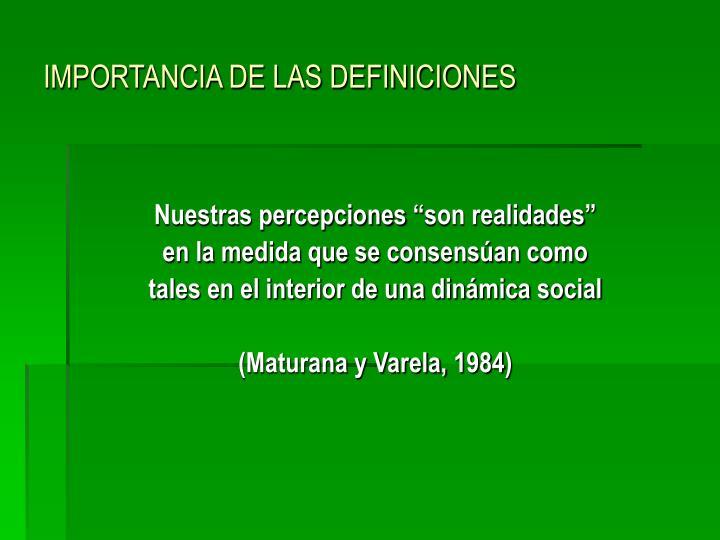 IMPORTANCIA DE LAS DEFINICIONES