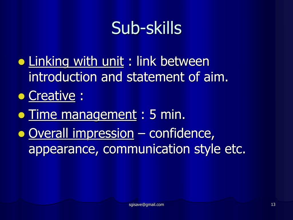 Sub-skills