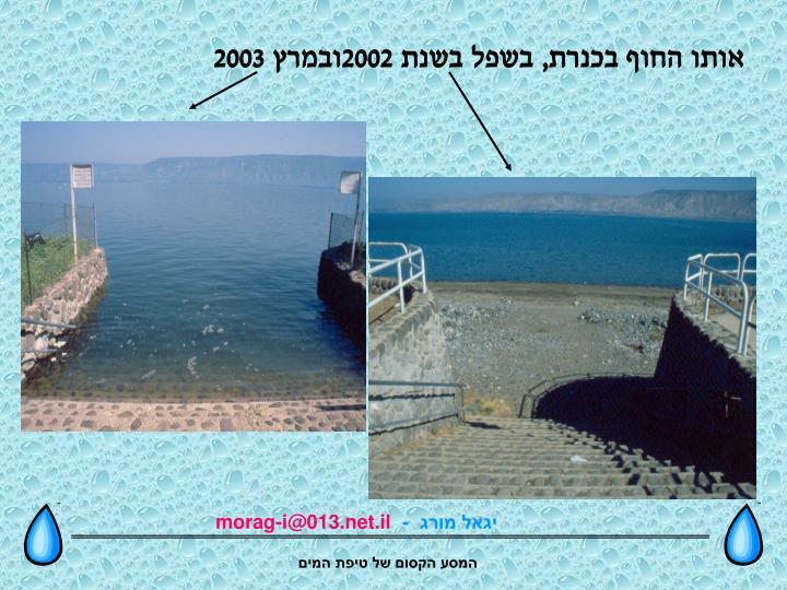 אותו החוף בכנרת, בשפל בשנת 2002ובמרץ 2003