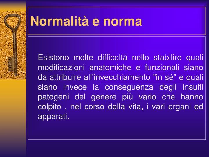Normalità e norma