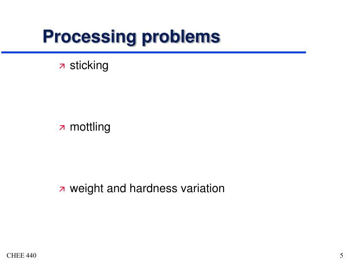 Processing problems