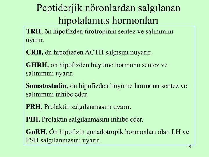 Peptiderjik nöronlardan salgılanan hipotalamus hormonları