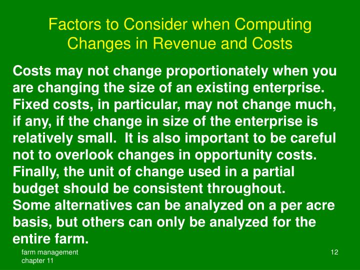 Factors to Consider when Computing Changes in Revenue and Costs