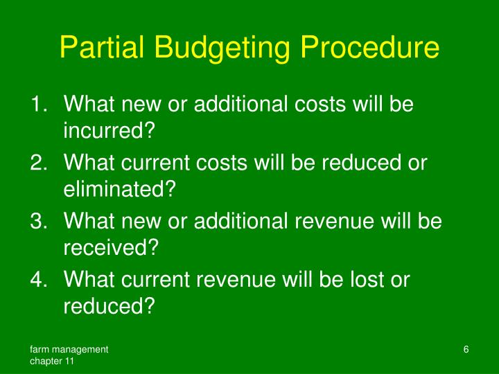 Partial Budgeting Procedure