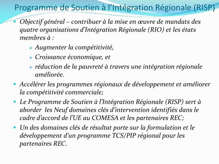Programme de Soutien à l'Intégration Régionale