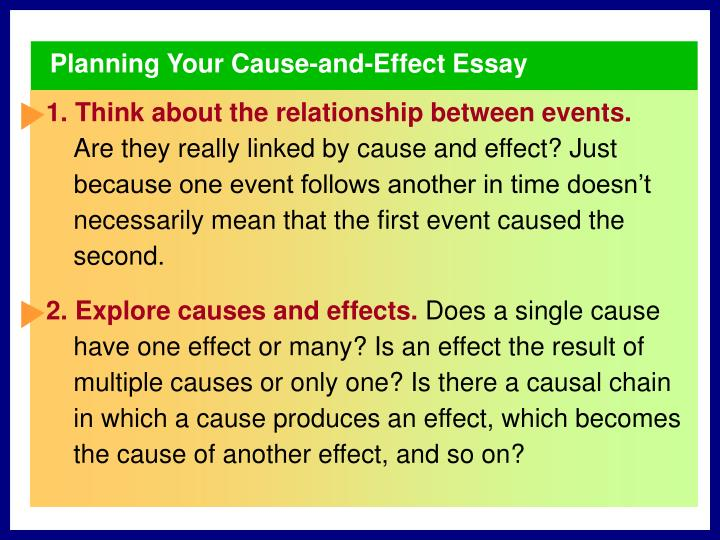Planning Your Cause-and-Effect Essay