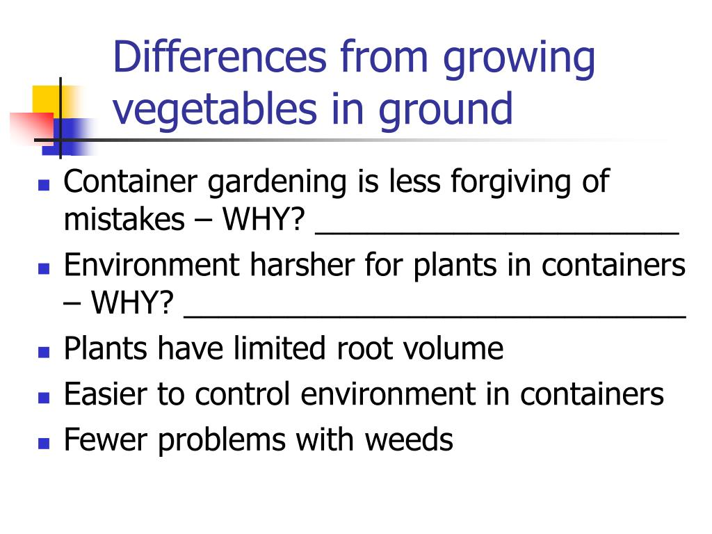 Differences from growing vegetables in ground