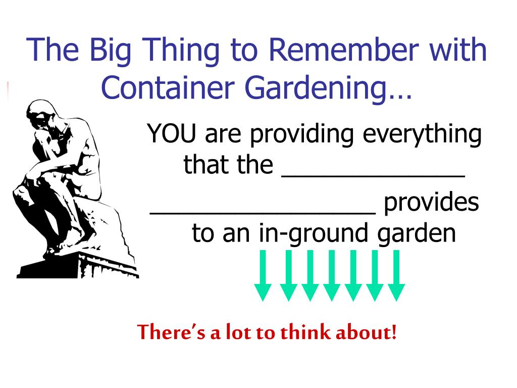 The Big Thing to Remember with Container Gardening…