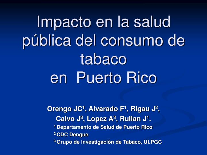 Impacto en la salud pública del consumo de tabaco