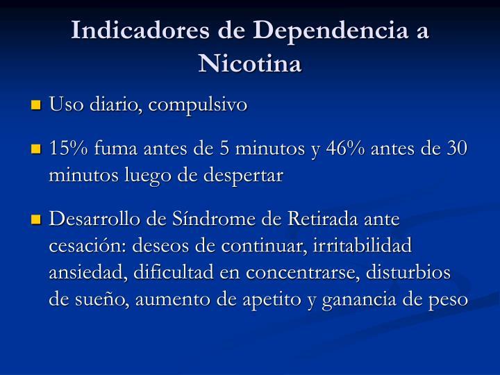 Indicadores de Dependencia a Nicotina