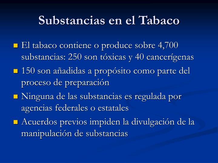 Substancias en el Tabaco
