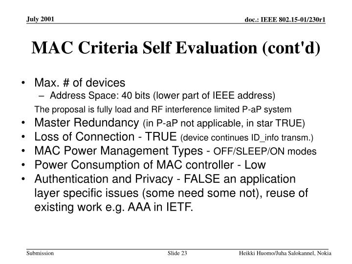 MAC Criteria Self Evaluation (cont'd)