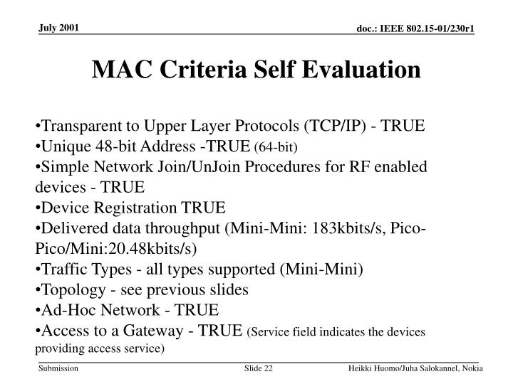 MAC Criteria Self Evaluation