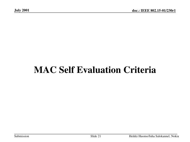 MAC Self Evaluation Criteria