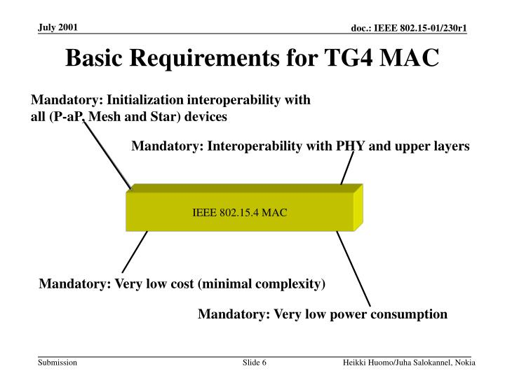 Basic Requirements for TG4 MAC