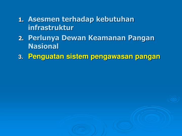 Asesmen terhadap kebutuhan infrastruktur