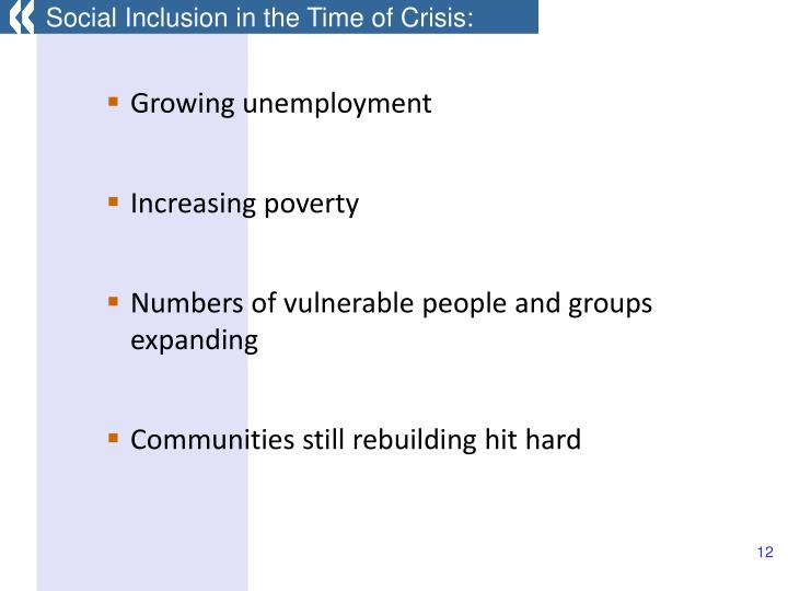 Social Inclusion in the Time of Crisis: