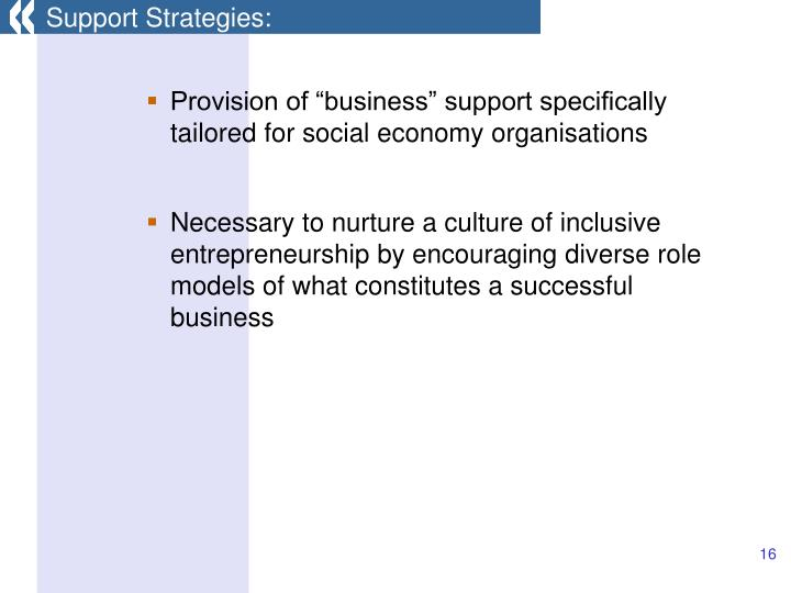 Support Strategies: