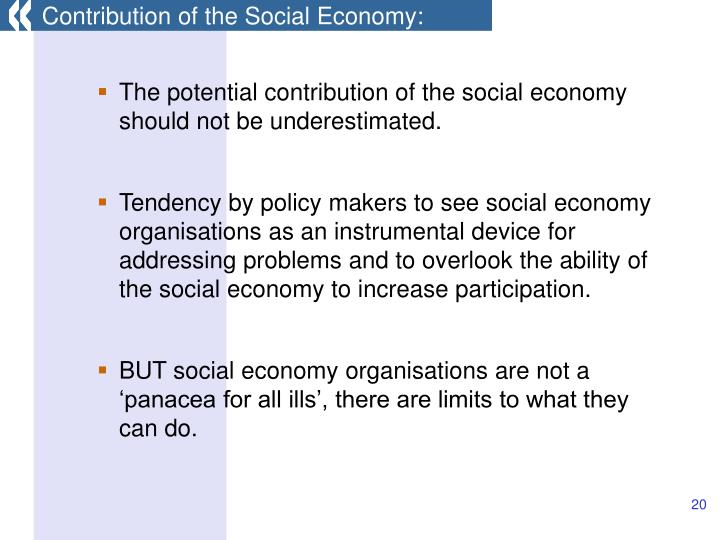 Contribution of the Social Economy: