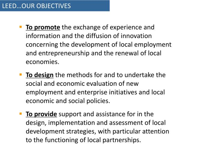 LEED…OUR OBJECTIVES