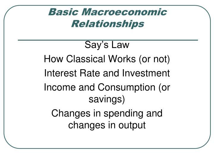 Basic Macroeconomic Relationships