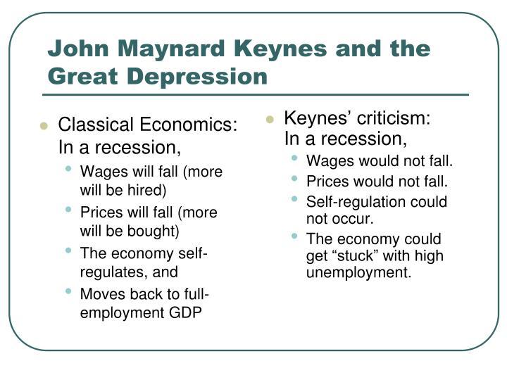 Classical Economics: In a recession,