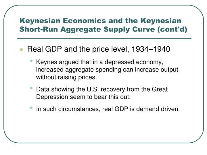 Keynesian Economics and the Keynesian Short-Run Aggregate Supply Curve (cont'd)