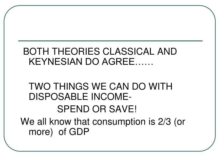 BOTH THEORIES CLASSICAL AND KEYNESIAN DO AGREE……