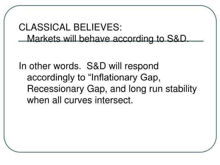 CLASSICAL BELIEVES: