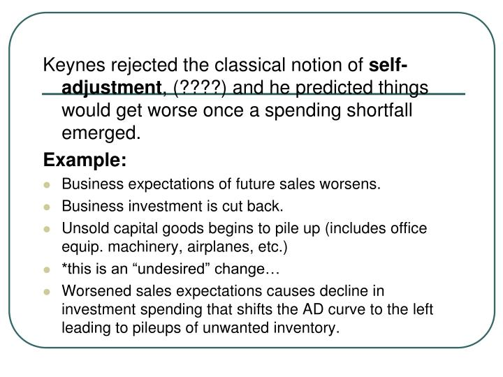 Keynes rejected the classical notion of