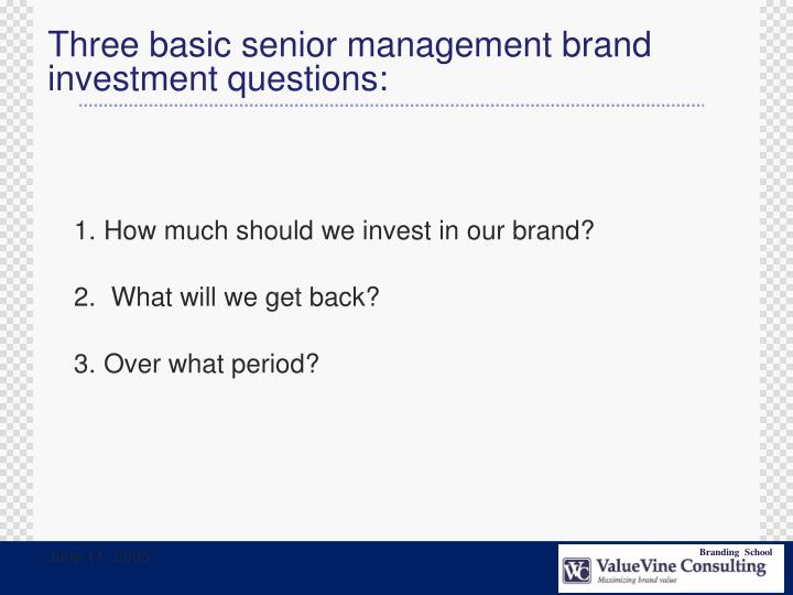 Three basic senior management brand investment questions